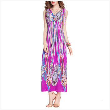 Peacock Ankle-Length Women's Bohemian Dresses