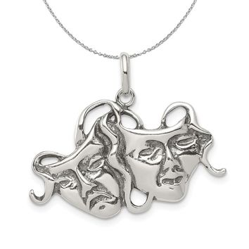 Sterling Silver Antiqued Comedy and Tragedy Mask Necklace