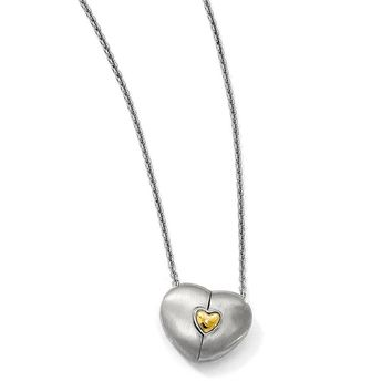 Satin Sterling Silver 14k Gold Plated Magnetic Heart Adj 18in Necklace