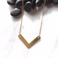 Gold V Necklace, Minimalist Necklace, Bridesmaid Necklace, Simple Jewelry