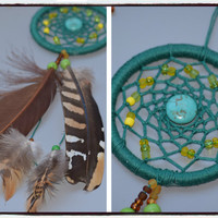 Pheasant feathers  Mini Dream catcher, Car Mirror Charm, Rear View Mirror,  Native American,Turquoise stone.