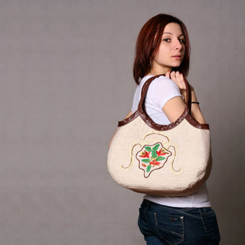 Linen leather shoulder bag. Hand embroidery leather straps handbag. Quilted cotton purse.