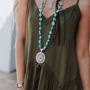 Alchemy Concho Turquoise Necklace - Turquoise
