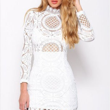 Lace Hollow Out Dress One Piece Dress [6339008449]