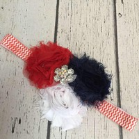 Girls 4th of July Shabby Chic Headband, Baby Bows, Hair Clips, Headbands, Baby Girl Headbands, Newborn Headbands
