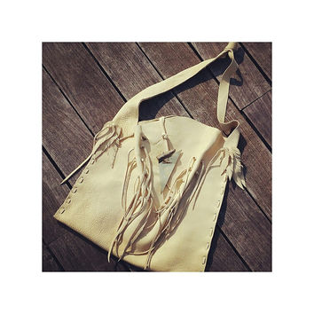 Don't shoot the sheriff leather fringe tote bag