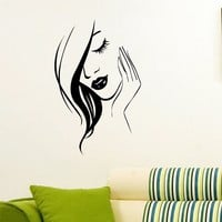 Wall Decal Vinyl Sticker Beauty Girl Hair Salon Spa Decor Sb485