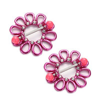 Vcmart Nipple Shields Rings Jewelry 14g Piercing Bars Barbells Pair Hot Pink Flower