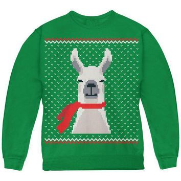 ICIK8UT Ugly Christmas Sweater Big Llama Green Youth Sweatshirt