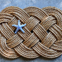 Large Nautical Knot Ocean Plait/Celtic Rope Knot Door Mat
