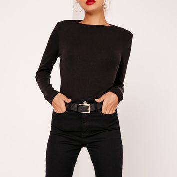 Missguided - Petite Crew Neck Ribbed Long Sleeved Top Black