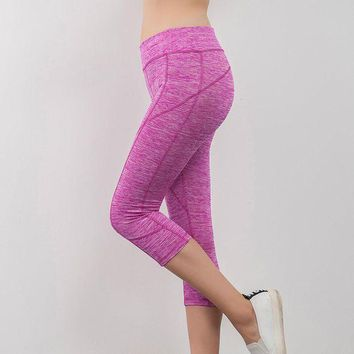 CREYCI7 2017 New Summer Women workout Leggings Fashion Summer Stitching elastic waist Capri pants fitness legging For Women