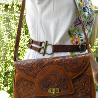 1970's mexican leather stamped shoulder purse, beautiful craftsmanship, two pockets.