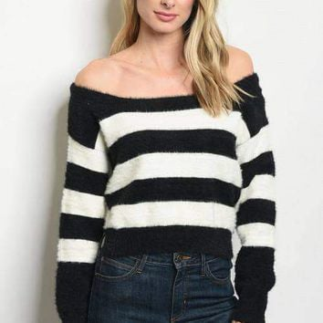Off Shoulder Striped Sweater - Black/White