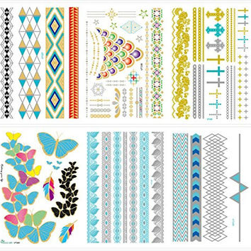 6 Premium Sheets-love Nest Metallic Flash Gold and Silver Bling Waterproof,botanical Custom Temporary Tattoos Sticker for Men Woman Kids/ for Glass Vase Decoration Spray Waterproof Stickers Design 23