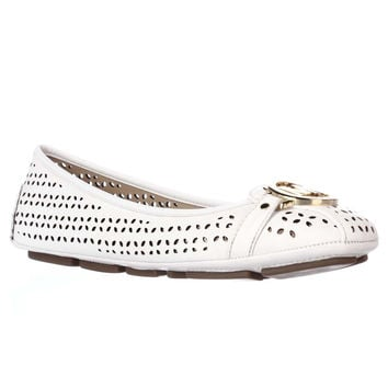 MICHAEL Michael Kors Fulton Moccasin Cutout Ballet Flats - Optic White