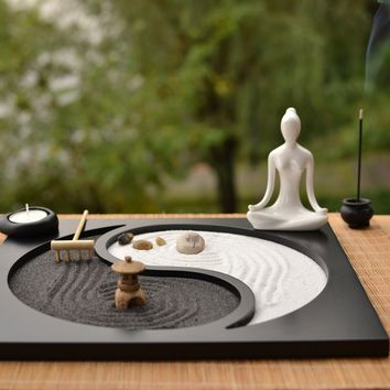 Japan Style Wooden Craft Zen Garden Decoration Resin Figurine Relax Buddhism Incense Burner Sand Table Home Decoration Crafts