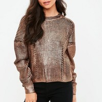 Missguided - Gold Knitted Foil Coated Jumper