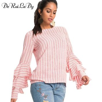DeRuiLaDy Autumn Female Long Sleeve Blouses Women Elegant Butterfly Sleeve Chiffon Tiered Blouse Shirt Casual Loose Striped Tops