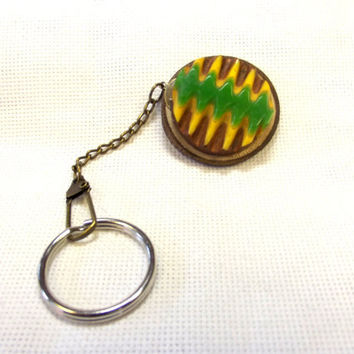 Wood Keychain, Vintage Button, Yellow, Green, Celluloid, Natural, Recycled,  Unisex Accessory