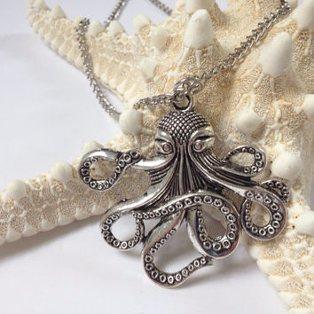 Octopus necklace silver, large pendant necklace, Octopus, Silver Octopus, Ready to Ship, Pirate