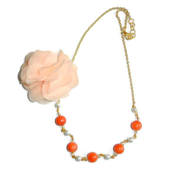 Coral and Pearl Necklace with Peach Flower