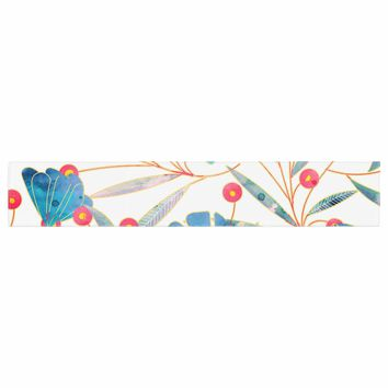 "83 Oranges ""Bluebella"" Blue White Nature Floral Illustration Watercolor Table Runner"