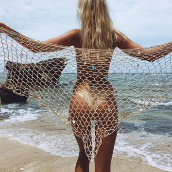 Hand hook beach shawl sun-protective clothing sexy fishnet mesh triangle beach towel