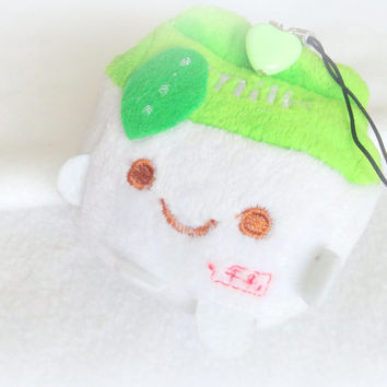 Kawaii plush phone charm, cute milk plush, anime plushie keychain, green cotton plush, soft toy, custom plush, bag charm, stuffed doll charm