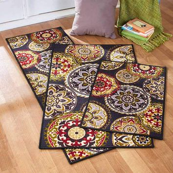 Medallion Print Decorative Accent Rug Runner or Large Accent Rug Latex Backing