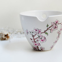Hand Painted Noodle Bowl Cherry Blossoms Botanical by yevgenia