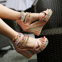Beaded Multi Color Wedge Heels
