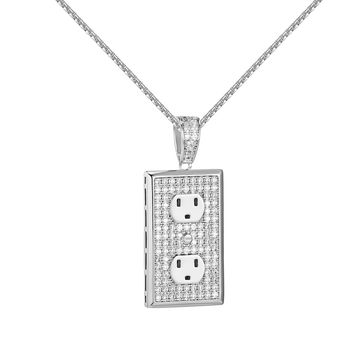 Switch Plug Design Socket Pendant Iced Out Free Necklace Full Iced Out Charm