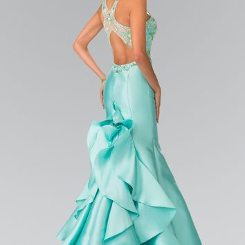 Mermaid Style Prom Dress with ruffles   #gl2214