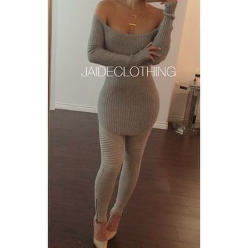 GREY Chantel Ribbed Shoulder Top - Jaide Clothing