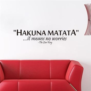 """""""Hakuna Matata it means No Worries"""" Inspiring Quotes Wall Decal"""