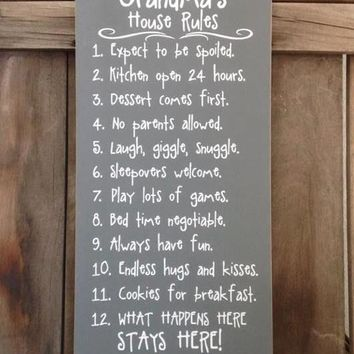 Grandma's House Rules Large Wood Sign