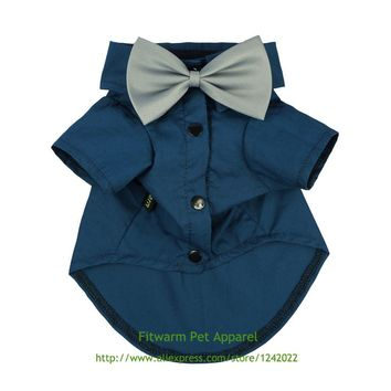 Fitwarm Pet Wedding Clothes Formal Tuxedo Blue Shirts for Dog with Bow tie Free Shipping Small Medium Large Yorkie