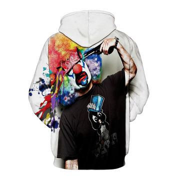 Autumn Winter Fashion Men/women Hoodies With Cap Print Gun Clown Hooded Hoody Sweatshirt 3D lovely T