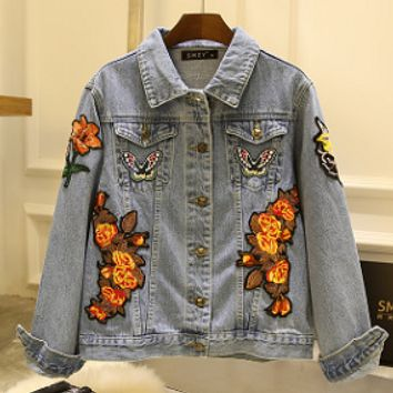 Autumn and winter new butterfly tiger embroidery flowers denim jacket cardigan jacket