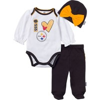 Pittsburgh Steelers Bodysuit, Footed Pants & Cap Set - Baby Girl, Size: