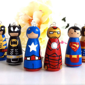 Any ONE Superhero Mini Christmas Tree Ornament ONE Comic Book Geekery Holiday Decor Ornament Cute Wooden Wood Peg Dolls Peggies Sci Fi
