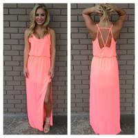 Neon Coral Maxi Kayla Dress