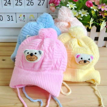 Baby Boy Girl Infant Toddler Cute Soft Crochet Bear Hat Beanie Warm Newborn Cap = 1957991428