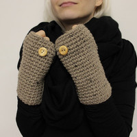 Tan Texting Mittens, Wool Wrist Warmers, Fingerless Mitts, Brown Wrist Warmers, Texting Gloves, Crochet Mittens, Winter Gloves, Hand Warmers