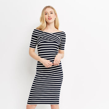 BARDOT WRAP STRIPE DRESS
