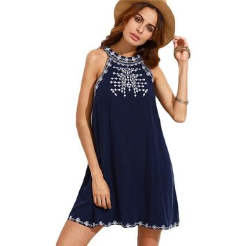 Casual Short Navy Embroidered Cut Out Tie Back Round Neck Sleeveless Shift Dress