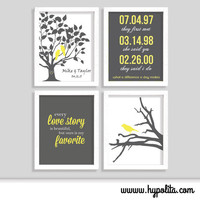 Wedding Print Set - Special Date - Family Tree - Love Story - Set of Four 8x10 Prints - Choose Your Colors