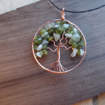 Wire Pendant - Tree of Life Pendant Copper Jade and Peridot Hand Made