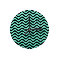Mint Green And Black Waves Pattern Round Wallclocks from Zazzle.com